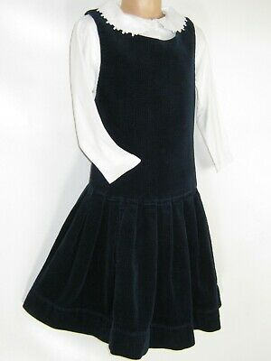 LAURA ASHLEY VINTAGE GIRLS NAVY COUNTRY CORD PINAFORE AUTUMN DRESS, 5-6 Years