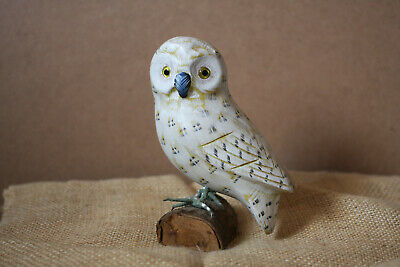 Victorian Trading Co White Brown Speckled Snowy Owl Figurine