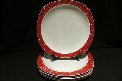 Four Midwinter Stylecraft Dinner Plates Casino Red Domino