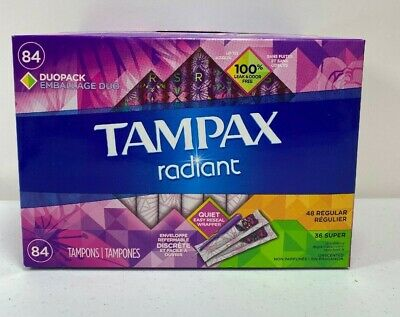Tampax Radiant Duopack Tampons, Regular/Super (84 ct.) Unscented