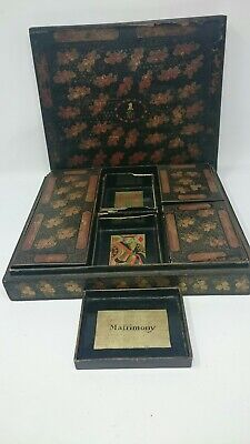 Antique Chinese Gilt Lacquered Armorial Games Box
