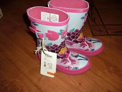 Bnwt Girls Joules Sky Blue Floral Wellingtons Boots Wellies Size 9.Rrp £24.95