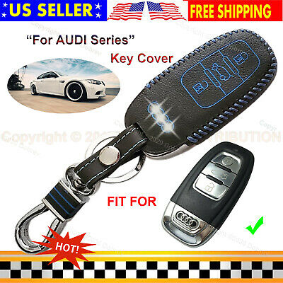 Genuine Leather Cover Smart 3B Keyless Remote Car Fob Case For Audi Smart Key