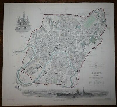 1852 MOSCOW Plan of the City Hand Coloured Original Antique MAP Knight