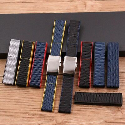 Mens Watch Nylon Canvas Rubber Strap 22mm Casual Folding Buckle Wristwatch Bands