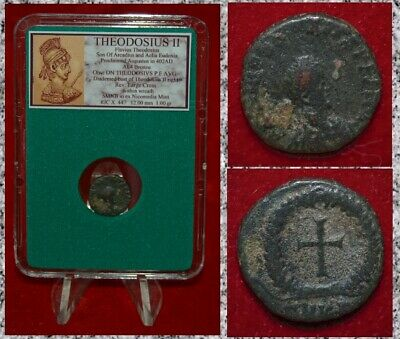 Ancient Roman Empire Coin THEODOSIUS II Cross on Reverse Small Bronze