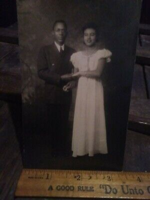 African American couple male has in clear glasses postcard Photo