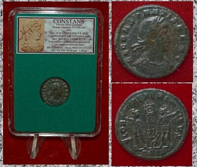 Ancient Roman Empire Coin CONSTANS Two Soldiers and Standard Nice Bronze!