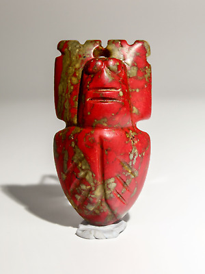 ANCIENT CHINESE HONGSHAN CARVED 3.8 Inches Red Turquoise Cicada FIGURE