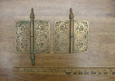 """Beautiful Pair Of Solid Bronze Antique Hinges,2-5/16"""" X 4-7/8"""" Legs,W/ISSUES"""