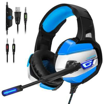 Pink K5 Gaming Headset LED Headphones With Mic Microphone For PS4 PC Game AU