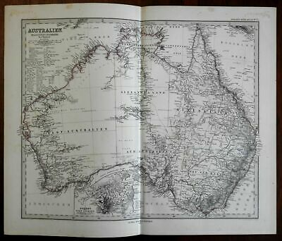Australia highly detailed continent map Sydney inset 1875 Stieler Petermann