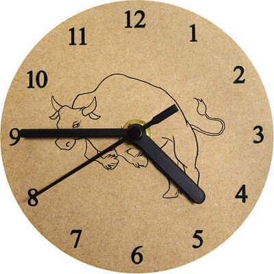 'Running Bull' Printed Wooden Wall Clock (CK006734)