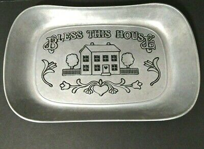 "Wilton Armetale Metal Bread Plate Tray ""Bless This House"" Rectangle 10.75"" x 7"""