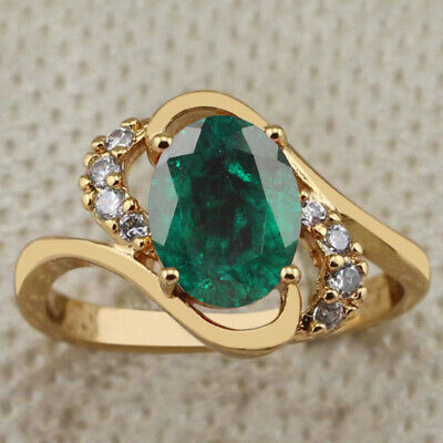 14KT Solid Yellow Gold 1.20Ct Natural Green Emerald & EGL Certified Diamond Ring