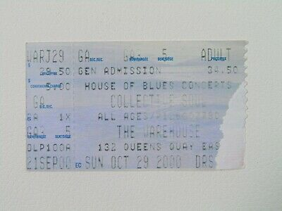 Collective Soul at The Warehouse 29/10/2000 Ticket Stub Concert Collectible