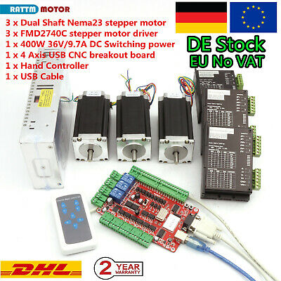 【EU/DE】CNC Router 3 Axis Nema23 stepper Motor 425oz-in Driver USBCNC Board Power
