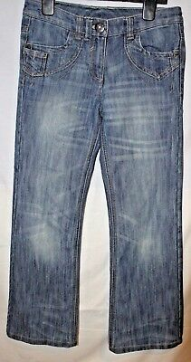 NEXT Girls washed out blue denim straight bootcut jeans 146cm AGE 11 years