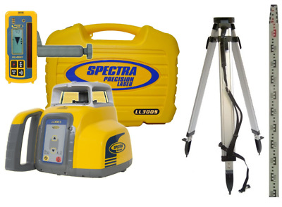 *NEW* Spectra Precision LL300S Rotary laser Level, Detector, Tripod & 5m Staff