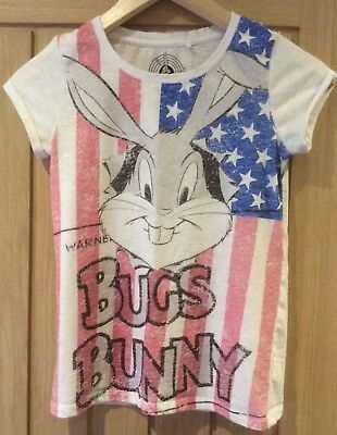Girls t-shirt age 9 years NEXT VGC white with bugs bunny Warner brothers print