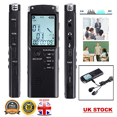 16GB Rechargeable Digital Sound Voice Recorder USB LCD Dictaphone MP3 Player UK