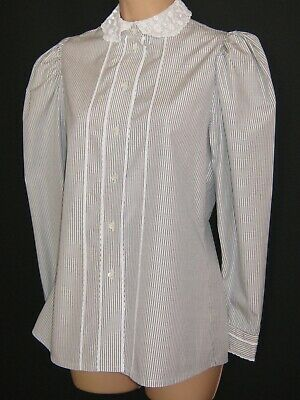 Laura Ashley Vintage Grey Striped Victorian Style Lace Collared Blouse, 10