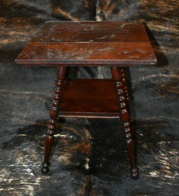 """Antique SALESMAN SAMPLE  SQUARE PARLOR TABLE SMALL SIZE 14.75"""" TALL OLD"""
