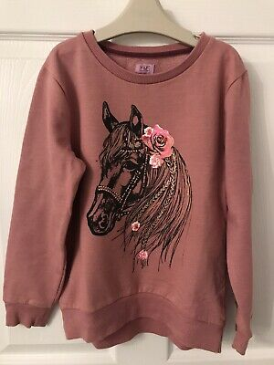 Kids Pink F&F Long Sleeved Horse Print Cotton Blend Sweater - Age 9-10yrs