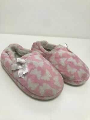 Girls Winter Slippers Warm Soft Cosy Slippers Pink Butterflies White Bow Size 10