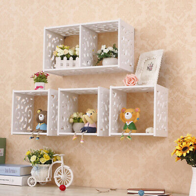 Set Of1/2/3 Wooden Floating Cube Shelves Wall Hanging Storage Display Home Décor