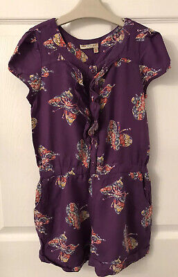 Girls Purple Mix Butterfly Print Indigo By M&S Playsuit - Age 9yrs