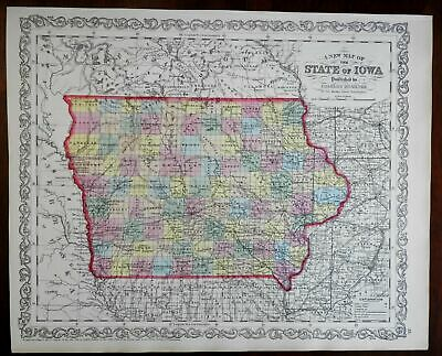 Iowa state by itself 1857 DeSilver lovely uncommon engraved map