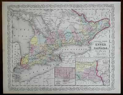 Upper Canada Toronto plan Niagara Falls Great Lakes 1857 DeSilver lovely map