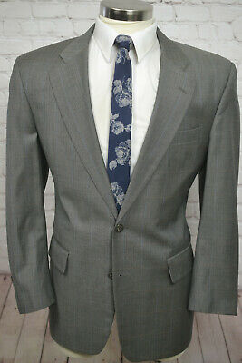 Jos. A. Bank Mens Taupe Beige Check Pleated Front 2 Piece Suit SIZE 42R 36Wx28L
