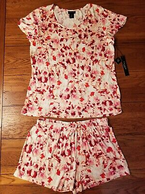 NWT Womens Tahari 2 Piece Sleep Pajama Set Pink Floral Abstract Brush Size S