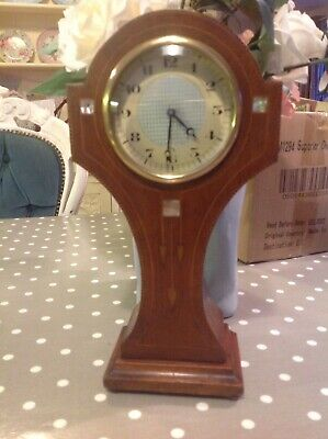 Art Nouveau Mahogany Satinwood & mother of pearl Inlaid  Balloon Mantle Clock