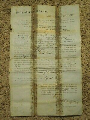 Antique 1857 Baltimore City, Maryland Certification Naturalization Paper