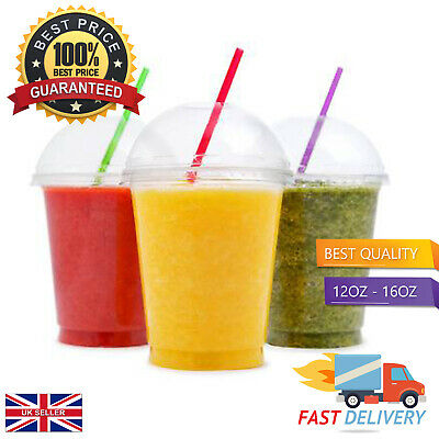 Best Milkshake / Smoothie Cups + Dome Lids In 12oz / 16oz Choose Your Pack Size