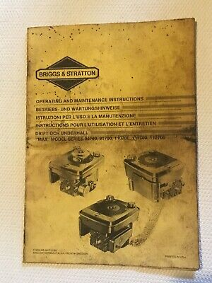 "Briggs & Stratton, Operating &  Maintenance Instructions For ""MAX"" Models"