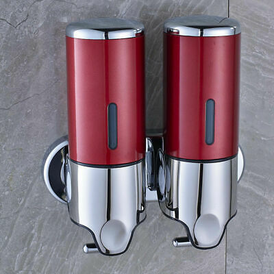 Double Wall Mount Shower Pump,2 x 500ml Shampoo Soap Dispensers, Stainless Steel