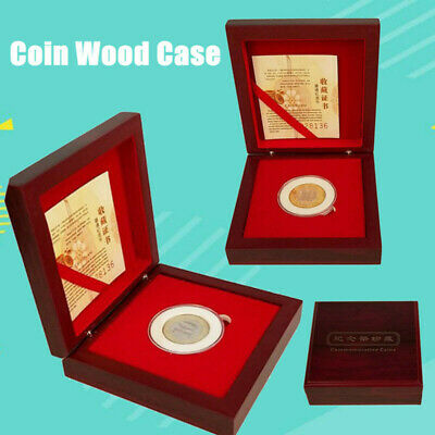 3 Pcs Single Coin Wood Case Display Box Wooden Storage Holder Collection Round