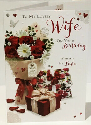 Lovely Wife Birthday Card - Flowers - 9 x 6.25 Inches Words & Wishes