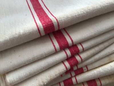 Unused Vintage French Linen Metis Torchon Tea Towel Red Stripes