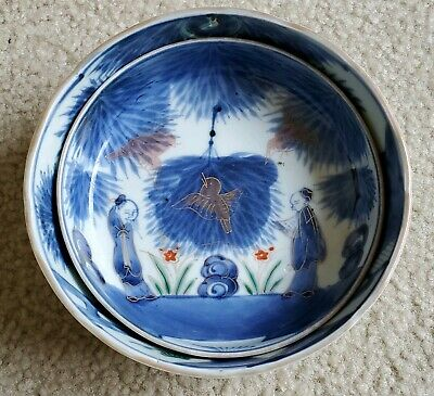 Unusual 19c. Edo Japanese Nesting Bowls Antique Painted Porcelain Blue Gold red