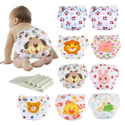 Lot Washable Breathable Reusable Infant Baby Nappies 5 Cloth Diapers+5 Inserts