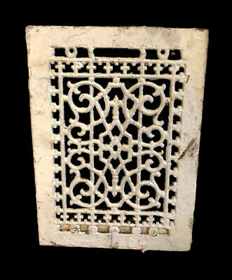 Antique Cast Iron Heating Grate Vent Floor Wall Cover Ornate 13.75 X 9.75