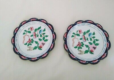 Antique Chinese Cloisonne / Enamel Floral Design Trinket Dish or Pin Trays x2