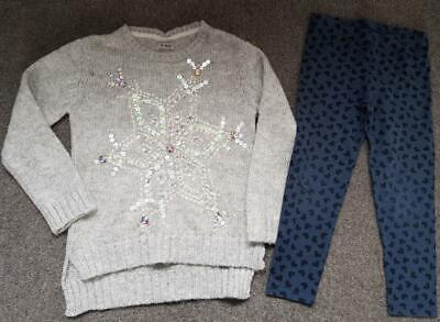 Girls Outfit,  Glitter/Sequinned Jumper And Heart Leggings, 6-7 Years, 122Cm