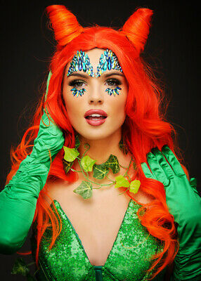 Womens Poison Ivy Style Red Orange Horn Shaped Wig