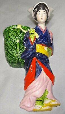Vtg Ceramic Geisha w/ Green Basket Wall Pocket Hanging Planter Vase Japan